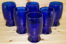 "(6) Cobalt Blue Juice Glasses or Tumblers, 4 1/2"" Tall, 9 ounces"