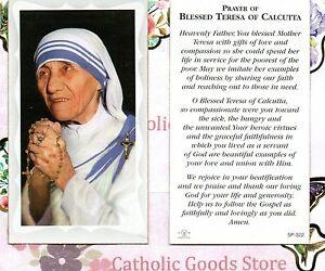 Blessed Mother Teresa with prayer of blessed mother teresa -Paperstock Holy Card