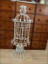 Antique White Scrolled Ornate Metal Tall Garden Bird Cage ~ w/ Door / Hanger