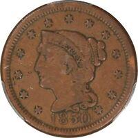 1850, 1c, Large Cent - Braided Hair - PCGS VF Details