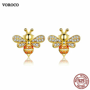 Bee Earrings Stud Gold Plated Sterling Silver Cute Zircon For Girls VOROCO NEW