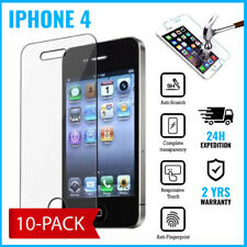 10-PACK Screen Protector LCD Protecteur Real Tempered Glass Film For iPhone 4