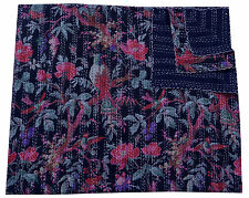 BIRD FLORAL INDIAN REVERSIBLE KANTHA COTTON QUILT COUCH THROW QUILTED BEDSPREAD