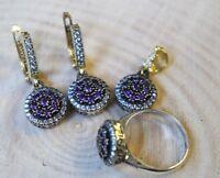 925 Sterling Silver Handmade Antique Turkish Amethyst Set Ring Earring Pendant