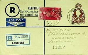NEW ZEALAND 1951 5s ON 9d REGISTERED LETTER VIA AIRMAIL PANMURE TO NETHERLANDS
