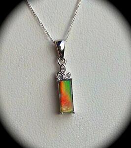 Natural Ammolite Pendant & Chain 925 Silver (CERTIFIED) Stunning! BNWT