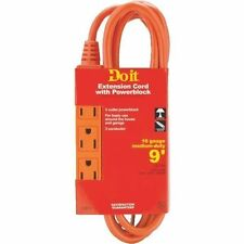 9' Triple Tap Indoor/Outdoor Extension Cord - Orange