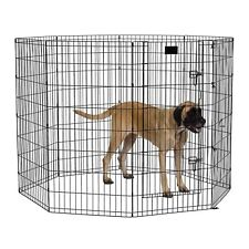 "48"" Dog Exercise Play Pen Folding Indoor Outdoor Cage Fence Pet Large Kennel"