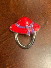 Ribbon Hat Pin Brooch Red Enamel Lady With Purple
