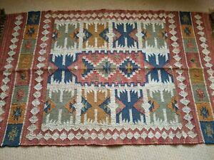 150x90cm INDIAN KILIM KELIM Jute Wool Aztec Design HAND WOVEN Carpet Rug Runner
