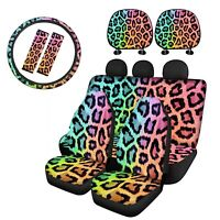 Leopard Grain Car Seat Cover Headrest Covers 9 pcs Full Set Auto Accessory Decor