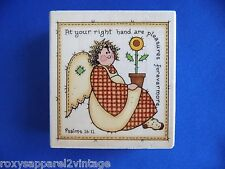 Patchwork Angel with Flower Wood Mounted Rubber Stamp Gently Used 1997 Uptown