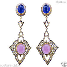 18K Solid Yellow Gold Pave Diamond Tanzanite/Tourmaline Gemstone Dangle Earrings