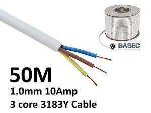 50M White PVC Flexible Cable Flex 3 core 1.0mm 10 Amp 3183Y
