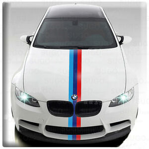 "24"" BMW M-Sport POWER 3-Colored Stripes Racing Body Decal DIY Sticker Customize"