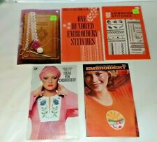 Vtg 1970's Coats & Clark's Craft Book Lot Embroidery 2 with Iron On Transfers (C