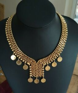 Heavy Chunky Gold Tone  Chain  Collar Necklace  Signed Jarls House