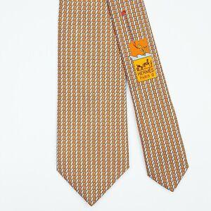 HERMES TIE 645694 PA Kitesurfing on Orange Skinny Heavy Twill Silk Necktie