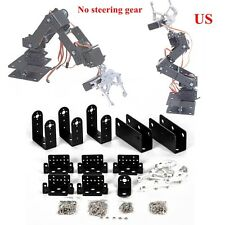 US Black 1 Set 6 DOF Aluminium Mechanical Robotic Arm Clamp Claw Mount Robot Kit
