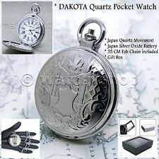 "DAKOTA Silver Antique Pocket Watch Brass Case Men Gift + 14"" Fob Link Chain P121"
