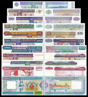 Set of 11Pcs Myanmar 1+5+10+20+50+100+200+500+1000+5000+10000 Kyats,Uncirculated