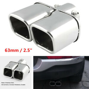 """Stainless steel Chrome Car Dual Exhaust Tip Square Tail Pipe Muffler 63mm / 2.5"""""""