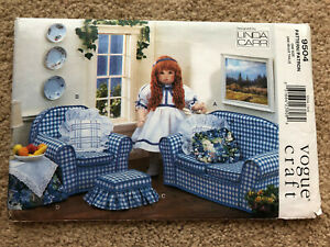 """Vogue Craft Sewing Pattern 9504 Living room furniture sofa chair 18"""" Doll Uncut"""