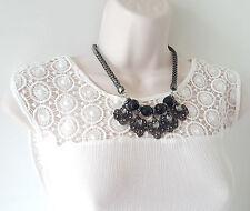 "Beautiful 18"" long hematite tone & black - hematite crystal chain necklace"
