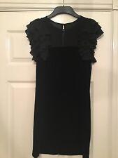 French Connection Black Velvet/chiffon Sleeveless Dress Size  8