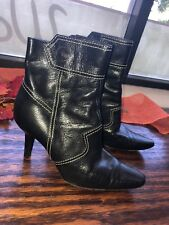 TOD'S Black Leather Ankle Boots Booties Sz 36