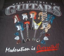 Guitar T Shirt S Moderation is Overrated by Lifestyle Classics Gray Cotton