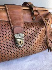 Patricia Nash Leather Purse Brown Doctor Bag Dr Handbag Cutout key lock Italian