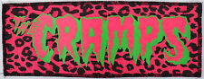 NEON UV PINK & GREEN CRAMPS PSYCHOBILLY PUNK GOTH PINK LEOPARD OVERLOCKED PATCH