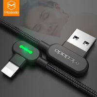 MCDODO 90 Degree Elbow Lightning Fast Charging USB Data Cable For iPhone X 8 7 6