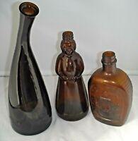 Three Amber Glass Bottles Lot