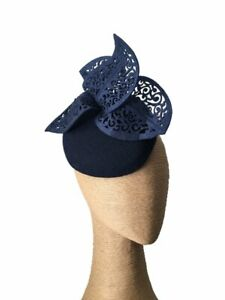 The Fillies Collection Navy Felt Hat with Cutout Leaves