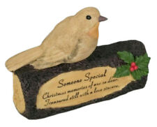Robin on Log Christmas Memorial Someone Special Grave garden Ornaments Tribute