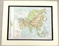 1899 Antique Map of Asia The Far East Japan China 19th Century Original