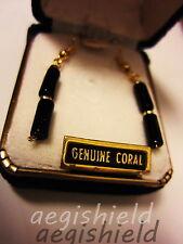"1.75""inch Earrings Vintage Hawaii Black Coral Beads Branch Hawaiian Treasures"
