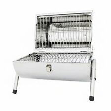 NEW! Portable Camping Stainless Steel Barrel BBQ Charcoal Barbecue Table Top