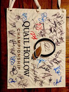 2010 QUAIL HOLLOW AUTO SIGNED  RORY MCILROY FLAG! 1ST PGA WIN! Dustin Johnson