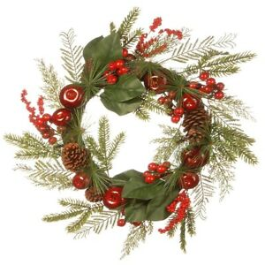 NEW National Tree Company Christmas Magnolia, Pine & Red Apple 24'' Wreath $99