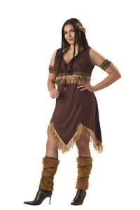 Native American Princess Costume 6Pc Br Velour Fringed Dress W/ Accessories Plus