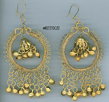 Antique India Brass Exotic Chandelier Earrings