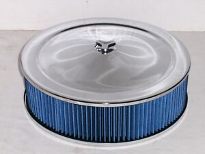 14 x 4 Chrome Recessed Round Washable Air Cleaner Blue Filter & Tri Bar Wing Nut