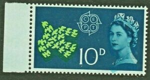 GB 1961 CEPT 10d STAMP with LIGHT BLUE Colour SHIFT showing WHITE Crown Ref:A728