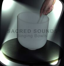"""CRYSTAL SINGING BOWL 18"""" HEART CHAKRA NOTE 'F' QUARTZ FROSTED Brand New Bowls"""