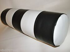 Black & White Stripes Faux Leather Bolster Cushion  with Cushion Filler Pad