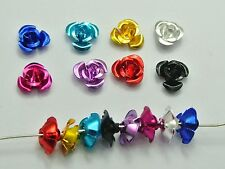200 Mixed Colour Aluminum Metal Rose Flower Beads 8mm
