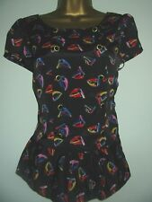 BNWT NEXT Black Nautical Boat Print Short Sleeved Top Size 10